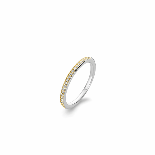 Ti Sento Ring row of zirconia in a pave setting with a gold coating