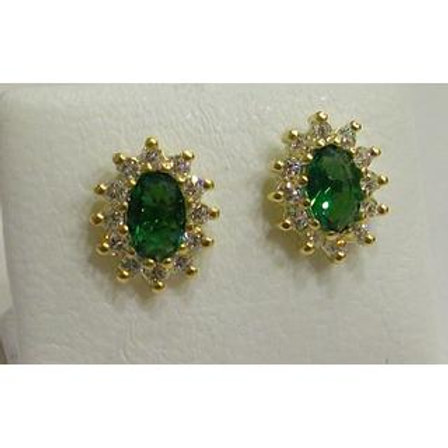 GOLD EARRINGS 14CK Gold with Fancy Green Color Stones in Brilliant Round Cut