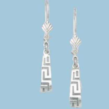 GREEK KEY DESIGN MEANDROS  Sterling Silver Earrings