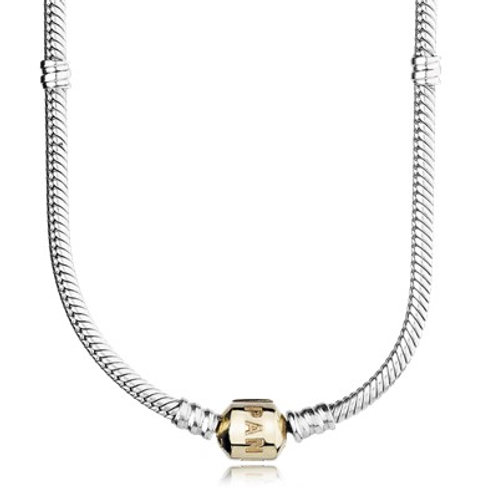 PANDORA CHARM NECKLACE – TWO TONE with 14ct gold clasp.