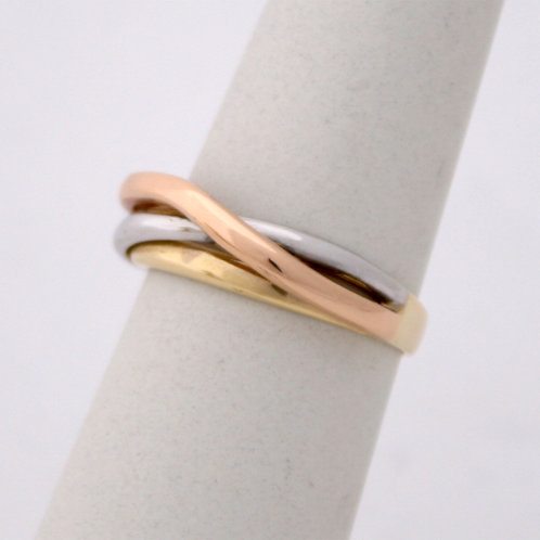 HANDMADE 14ct WHITE,YELLOW AND ROSE GOLD TRIPLE RING