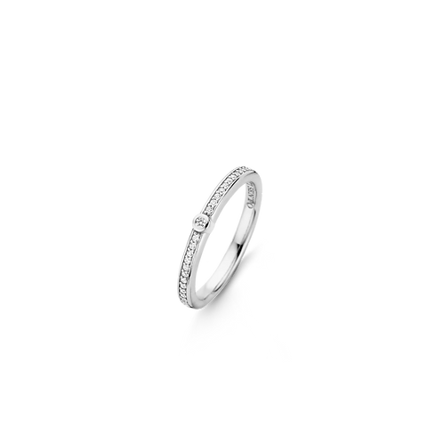 Ti Sento Ring with  a band  of pave  set Crystals and a larger White  Zirconia