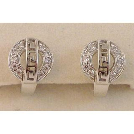 GREEK KEY DESIGN MEANDROS 14ck  WHITE GOLD Studs   Earrings