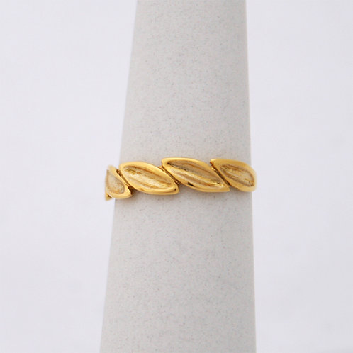 HANDMADE 14ct YELLOW GOLD OLIVE BRANCH RING