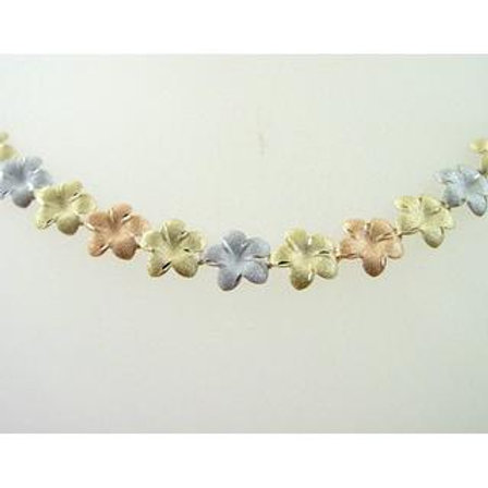 GOLD Necklace 14ck White, Yellow, Rose Gold with Flower Design