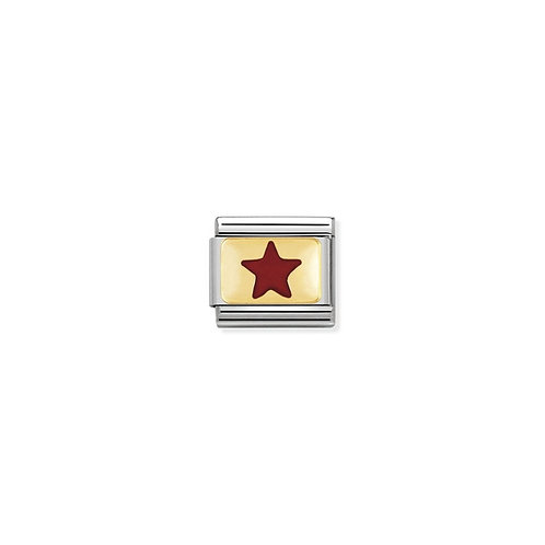 Nomination COMPOSABLE CLASSIC LINK GOLD and ENAMEL Red Star Charms