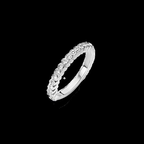 Ti Sento Ring with brilliant-cut cubic zirconia stones in individually bezel set