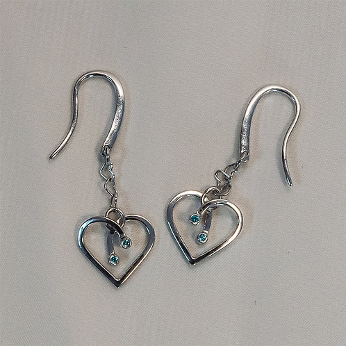 LOURDAS LINKS OF HEARTS  STERLING SILVER EARRINGS With Blue Cubic Zirconia