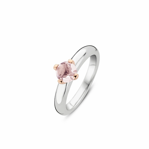 Ti Sento Ring  crafted with Silver Rose Gold Plated  and Crystal  in colour Nude