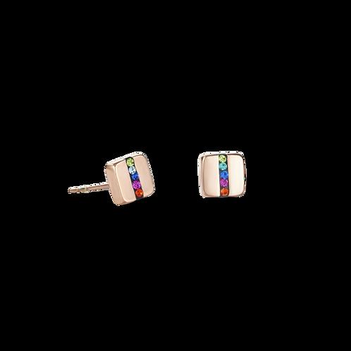 COEUR DE LION Earrings  square Rose gold & crystals pavé strip multicolour