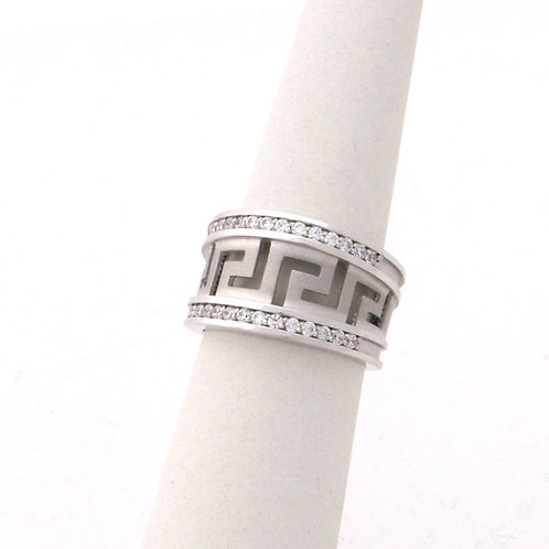 GREEK KEY DESIGN MEANDROS 14ck  WHITE GOLD Ring With Cubic Zirconia
