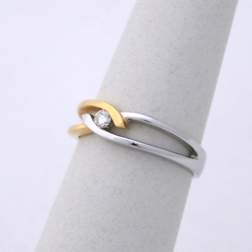 GOLD RING 18CK White&Yellow Gold with DIAMONDS in Brilliant Round Cut