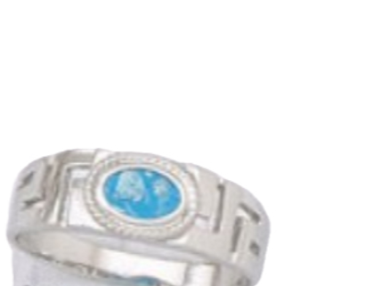 GREEK KEY DESIGN MEANDROS  Sterling Silver Ring with Blue Natural Opal