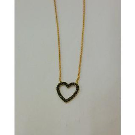 GOLD Necklace14ck Rose Gold Heart Design with Fancy Color Cubic Zirconia