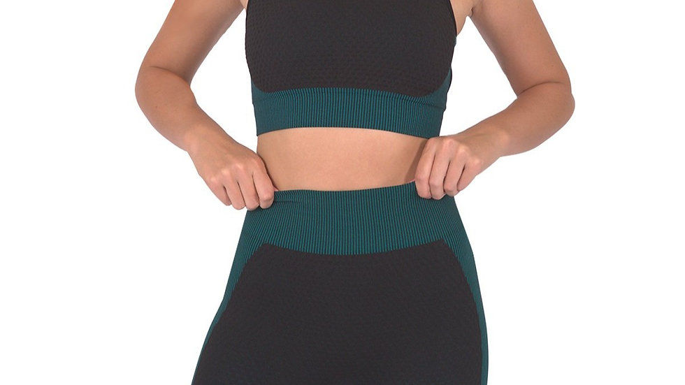 Trois Seamless Sports Bra - Black With Teal Blue