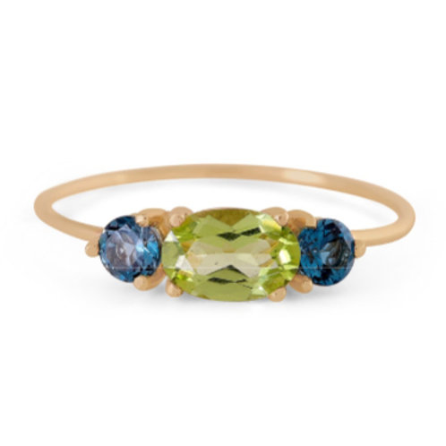 GOLD RING 14CK Yellow Gold  with Peridot and  Blue Topaz in Brilliant Round Cut
