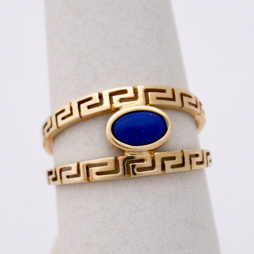 GREEK KEY DESIGN MEANDROS 14ck  YELLOW GOLD Ring With Lapis Lazuli Stone