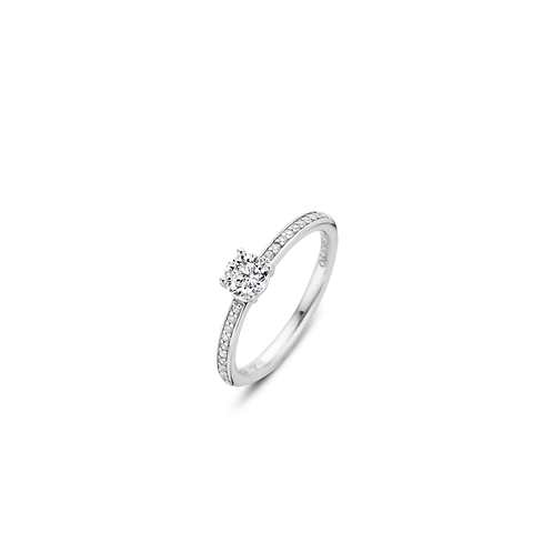 Ti Sento ring pavé-set with zirconias The large zirconia  in a solitaire setting