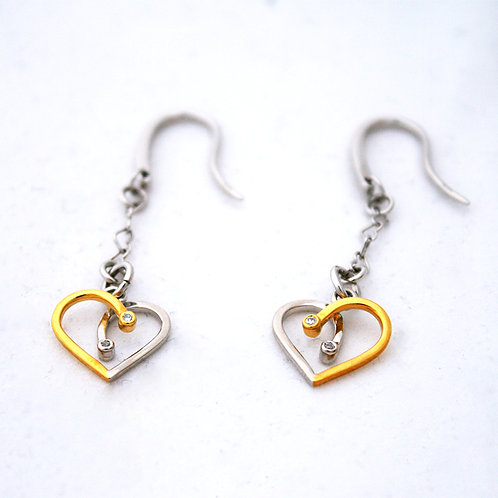 White And Gold Sterling Silver Earrings Lourdas Heart Links