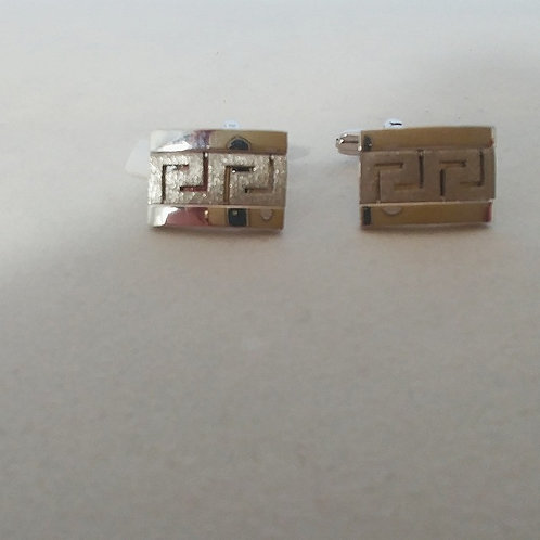 GREEK KEY DESIGN MEANDROS STERLING SILVER CUFFLINKS