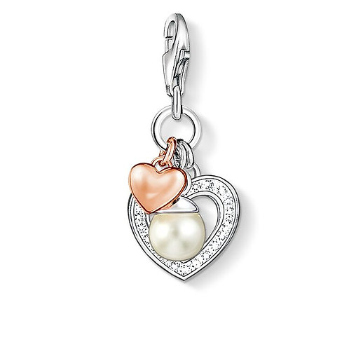 Thomas Sabo Charm Pendant Hearts with Pearl