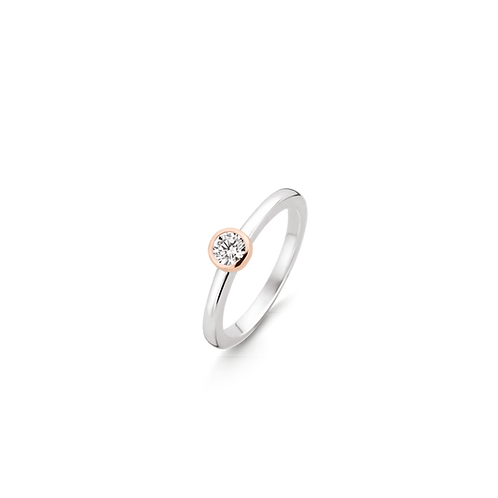 Ti Sento  Ring with Rose-gold plating that wraps up the brilliant-cut zirconia