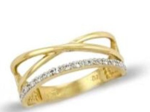 GOLD RING 14CK Yellow and  White Gold with Brilliant Round Cut Cubic Zirconia