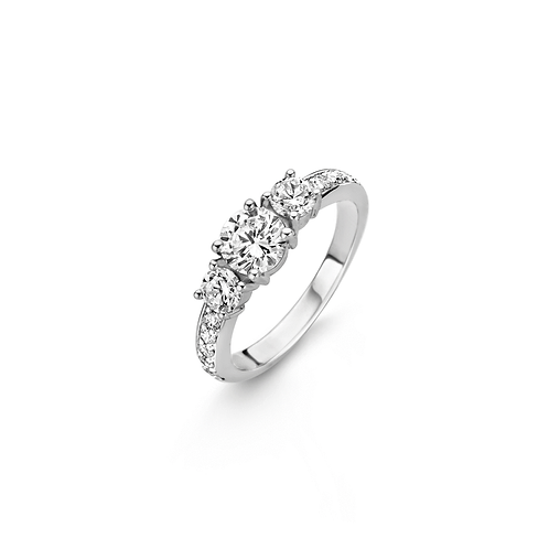 Ti Sento Ring crafted in Silver rhodium plated with Three Zirconia Stones