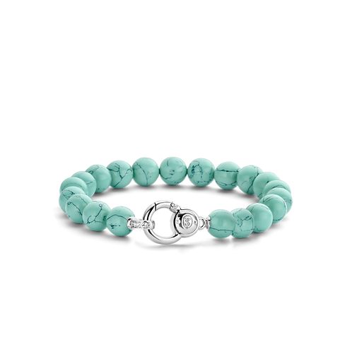 Ti Sento Bracelet with turquoise  beads made of Rhodium plated Sterling Silver