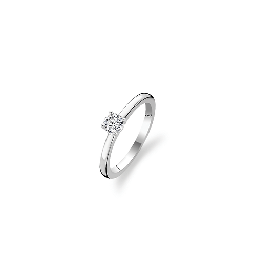 Ti Sento  solitaire Ring crafted in Silver rhodium plated with White Zirconia