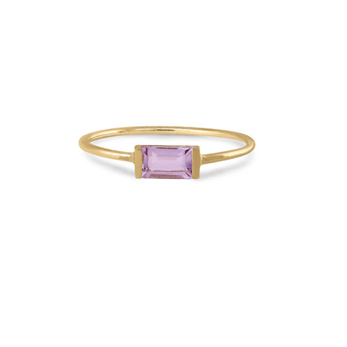 GOLD RING 14CK Yellow Gold with Amethyst Stone in Princess Cut