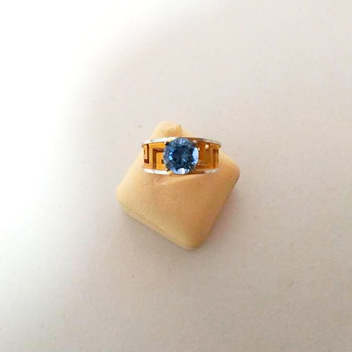 TWO TONE WHITE AND GOLD STERLING SILVER WITH FANCY COLOR CUBIC ZIRCONIA RING