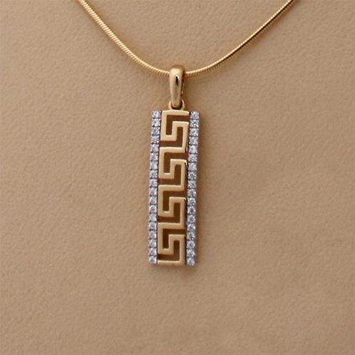 GOLD Pendant 14ck YellowGold Greek Key Design with Cubic Zirconia