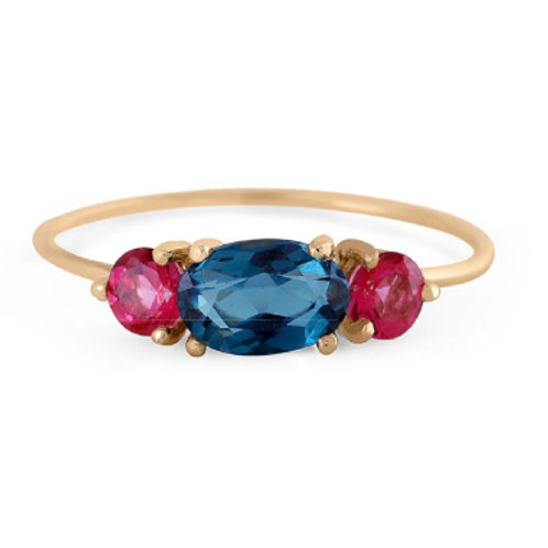 GOLD RING 14CK Yellow Gold with Blue Topaz & Tourmalines  in Brilliant Round Cut