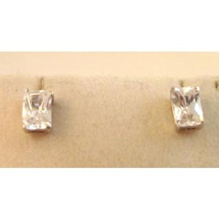 GOLD EARRINGS 14CK WHITE  Gold With Cubic Zirconia In Princess Cut