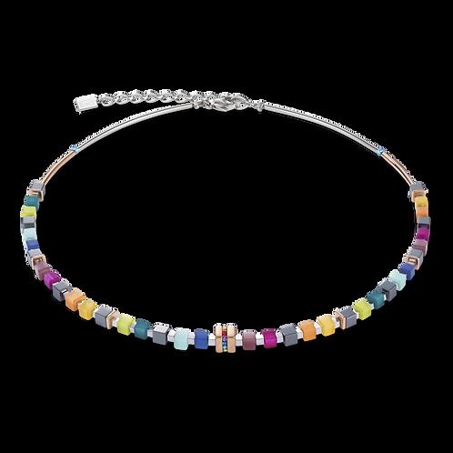 COEUR DE LION Necklace GeoCUBE® rose gold & crystals pavé multicolour