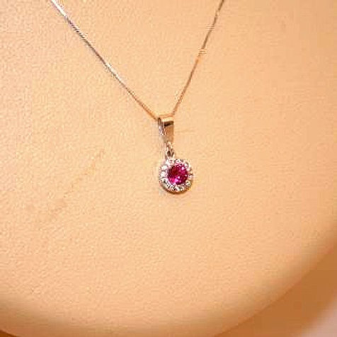 GOLD Necklace 14ck White Gold with Ruby in Brilliant Round Cut