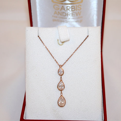 Sterling  ROSE Silver Necklace with Pear Cut Cubic Zirconia