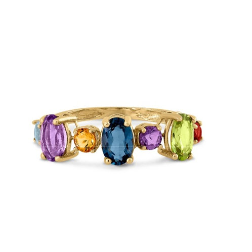 GOLD RING 14CK Yellow Gold with Blue Topaz Amethysts, Peridots and Tourmaline