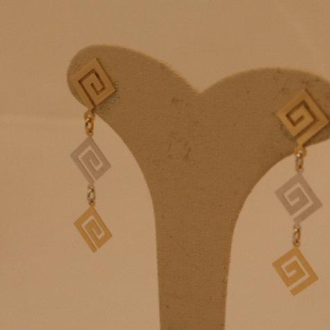 GREEK KEY DESIGN MEANDROS 14ck  YELLOW & WHITE GOLD Earrings