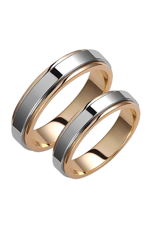 Pair of Wedding Band 14ck White and Yellow Gold Shinny Design