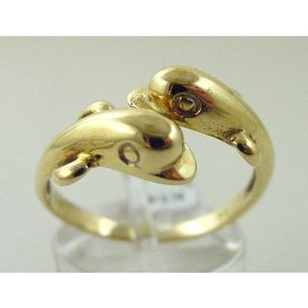 GOLD RING 14CK Yellow Gold with Dolphins Dancing Design