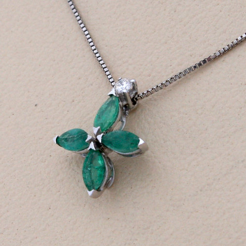GOLD CROSS 18ck  White Gold with Emerald  in Marquise Cut and Diamond