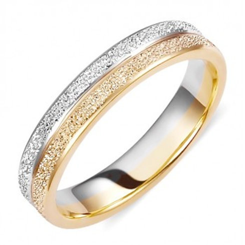 Wedding Band two Tone White&YellowGold with Sand Blasted Techinque