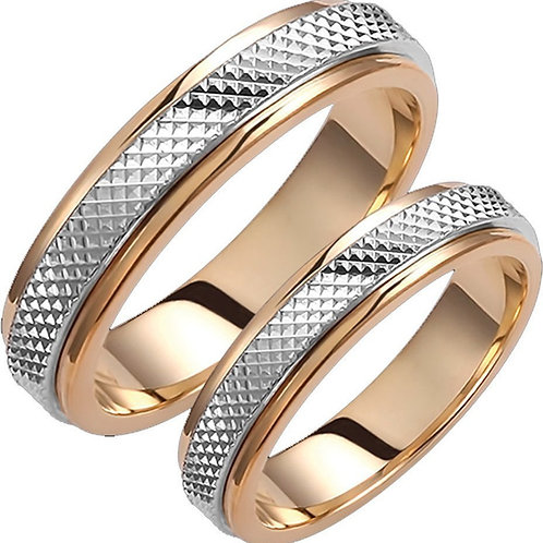 Wedding Band 14ck White&Yellow Gold Two-Tone with Sand Blasted ,Diamond Tool Cut