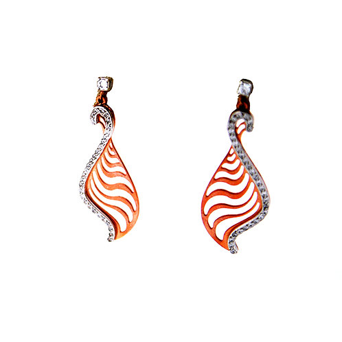 GOLD EARRING 14CK ROSE Gold with Cubic Zirconia in Brilliant Round Cut