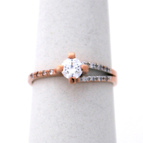 GOLD RING 14CKROSE  Gold with Cubic Zirconia in Brilliant Round Cut