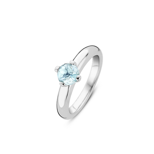 Ti Sento Ring  crafted in Silver rhodium plated  with Crystal stone  Watery Blue
