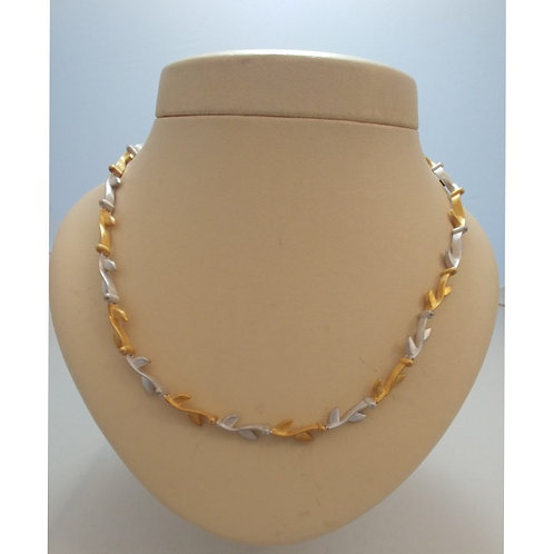 TWO TONE OLIVE BRANCH WHITE AND GOLD STERLING SILVER NECKLACE