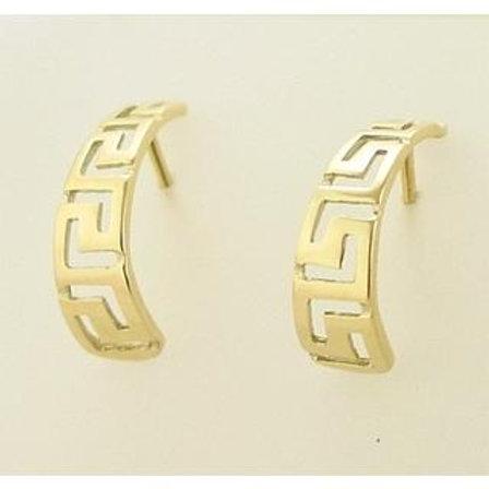 GREEK KEY DESIGN MEANDROS 14ck  YELLOW GOLD Hoops Earrings